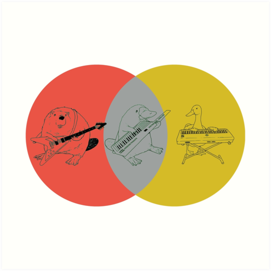 Keytar Platypus Venn Diagram Red Gray Yellow Art Prints By