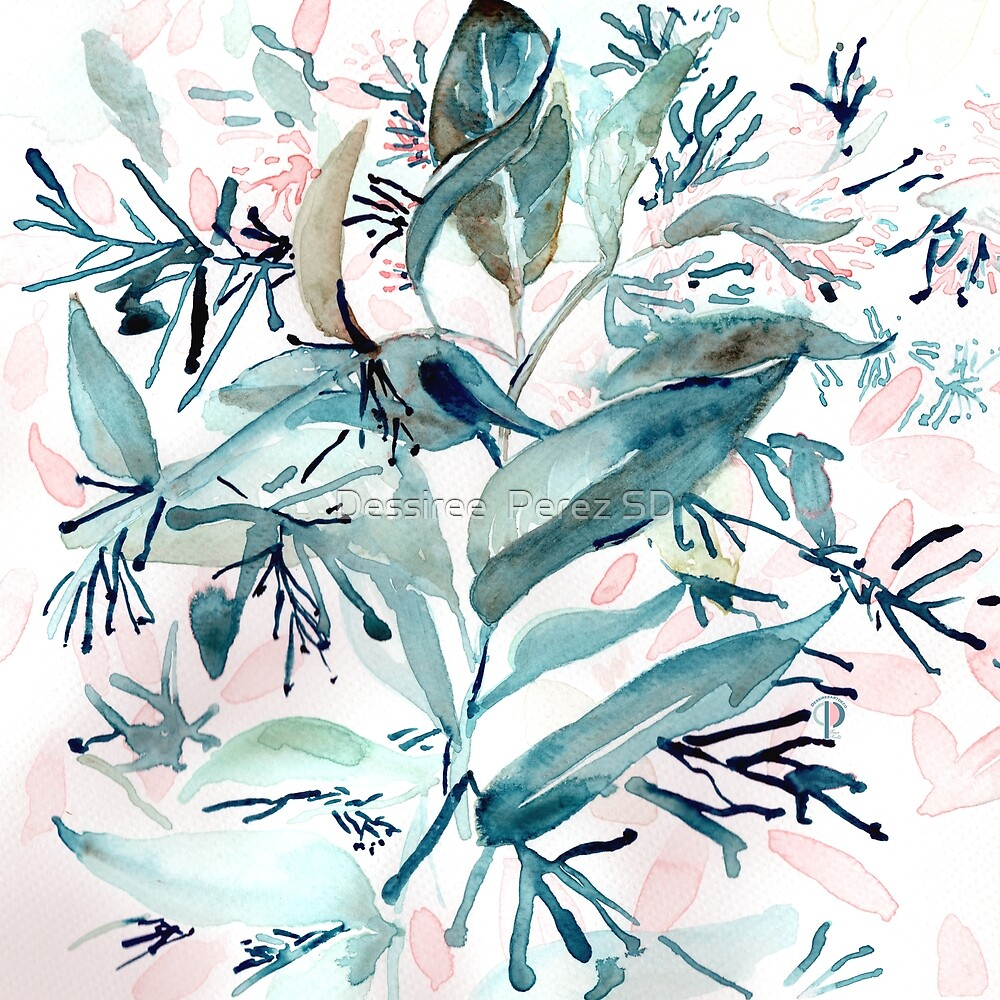 """G. Hand painted watercolor art """"Botanical Illusion"""" by Dessiree  Perez"""