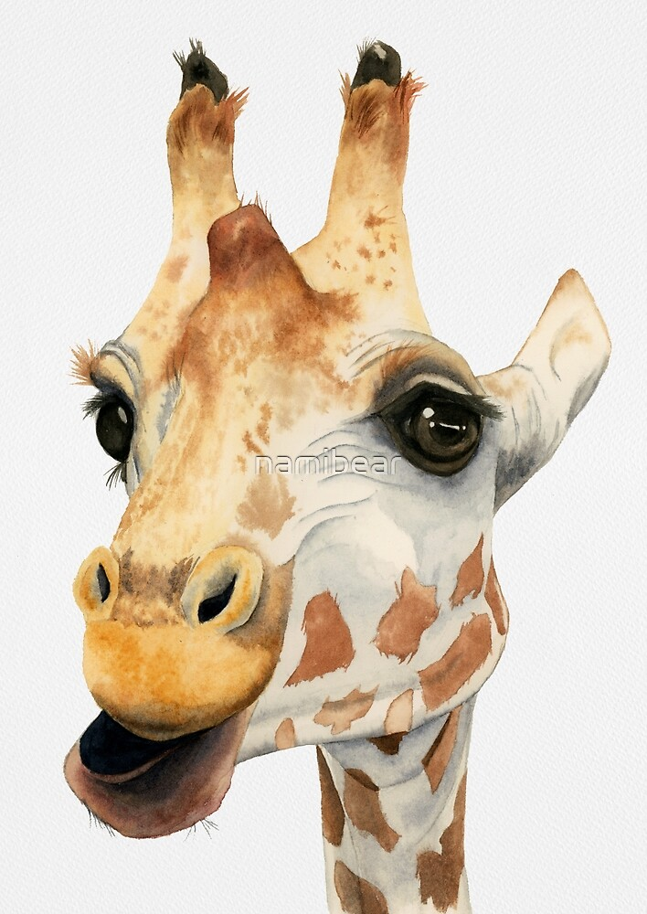 """Chew""   Giraffe Watercolor Art by namibear"