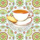 Cup of Tea on Mandala Cloth by PatriciaSheaArt