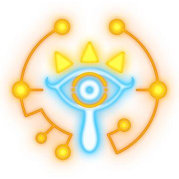 Zelda blue and orange glowing eye symbol  by TrinketGeek