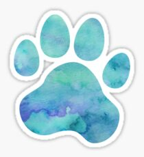 Dark Teal Watercolor Paw Print Sticker