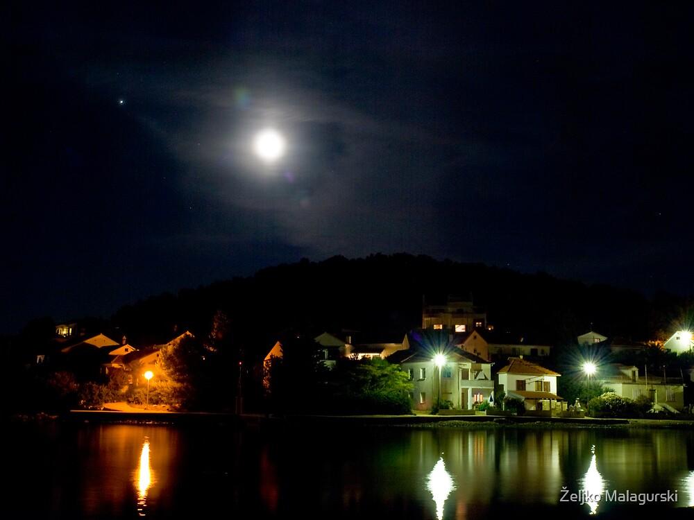 Moon over Veli Iž 1 by Željko Malagurski
