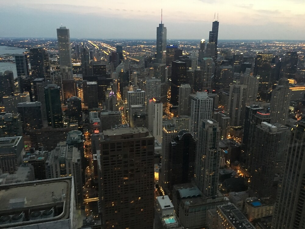 Chicago city at night  by skycaitlin