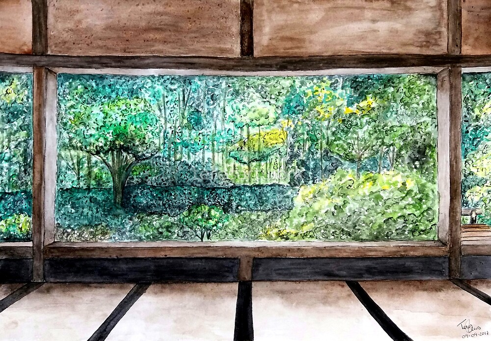 Japanese House Forest View Watercolor Painting by teresartwork
