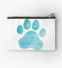 Turquoise Watercolor Paw Print Studio Pouch