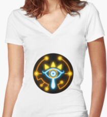 Zelda eye symbol sticker blue and orange Women's Fitted V-Neck T-Shirt