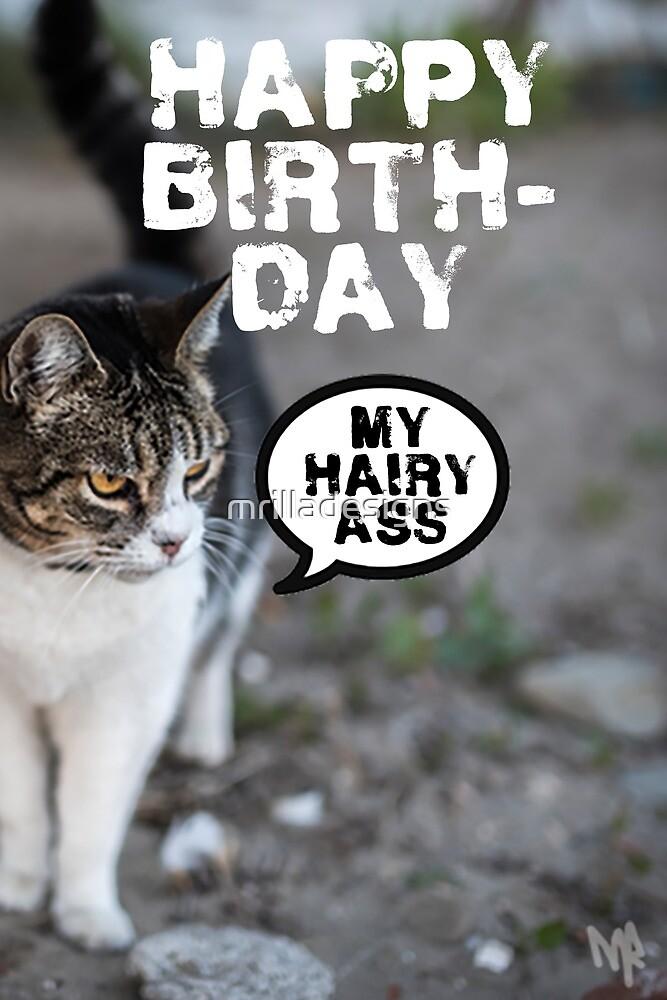 Cat Birthday card  by mrilladesigns