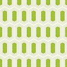 Elongated Hexagon Geometric Pattern (Fill Green & Grey on White) by KristyKate