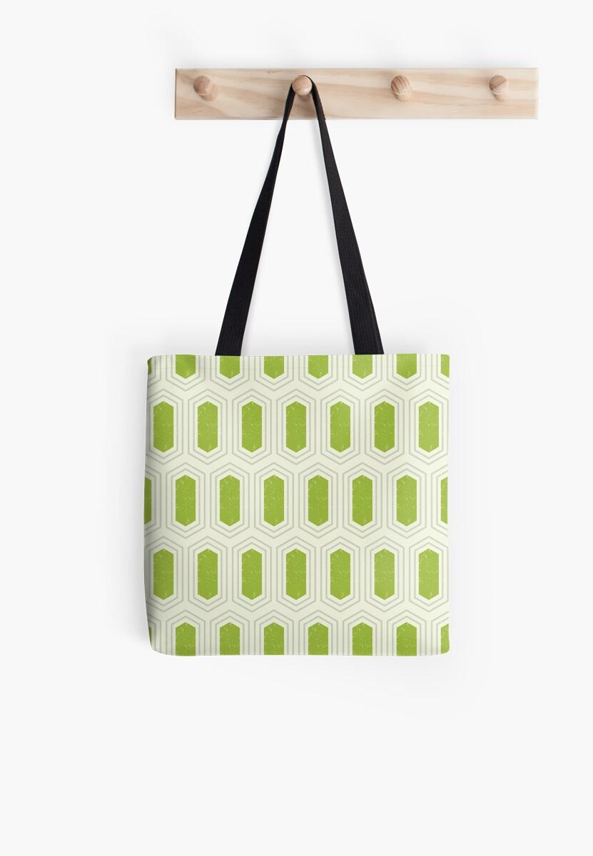 Elongated Hexagon Geometric Pattern (Fill Green & Grey on White) by KristyKate