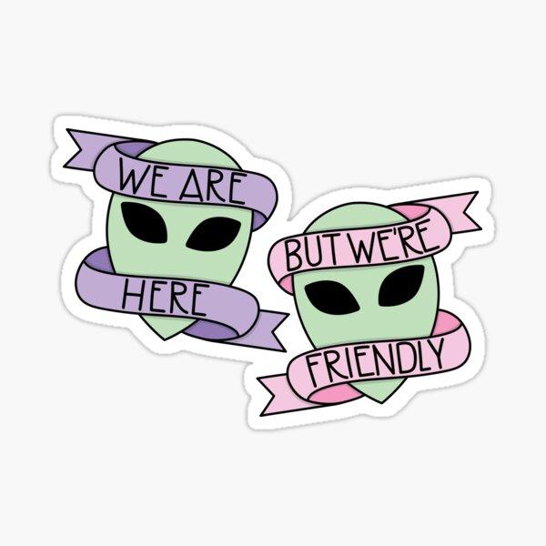 Friendly Aliens (in Unicorn) Sticker