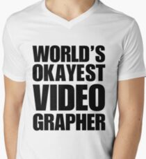 Funny World's Okayest Videographer Coffee Mug Men's V-Neck T-Shirt