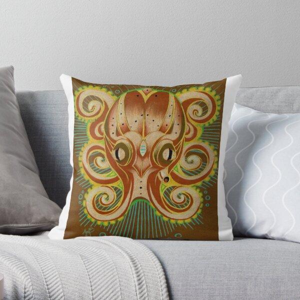 octopus totem art Throw Pillow