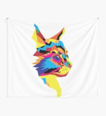 Geometric Colourful Kitten Digitally Created Wall Tapestry