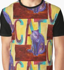 Purple Cat on Red Wall Graphic T-Shirt