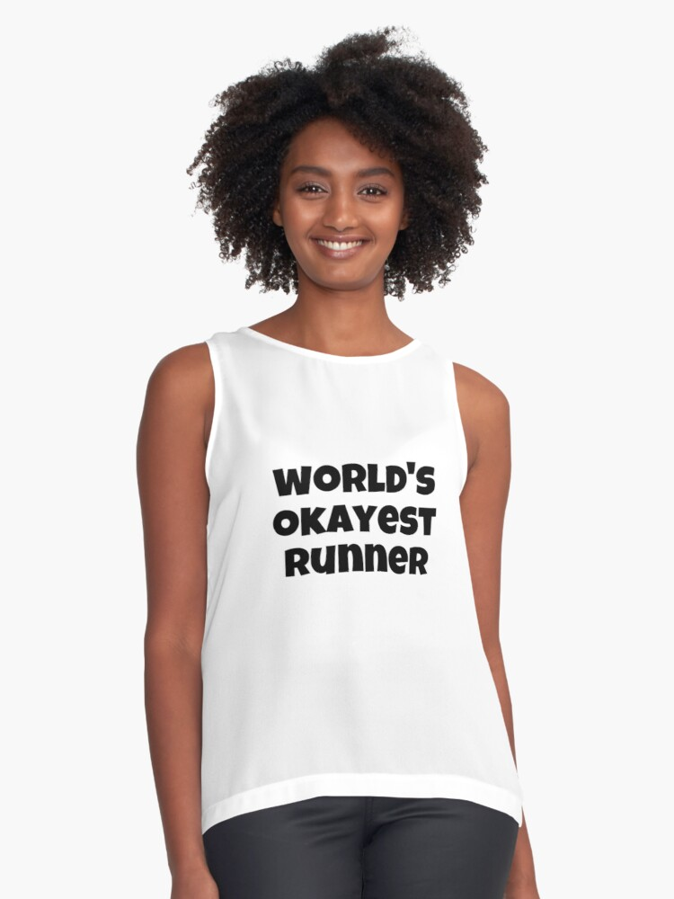World's Okayest Runner, Athletic Running Tee Contrast Tank Front