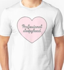 """Professional Sleepyhead"" Cursive Heart Aesthetic   T-Shirt"