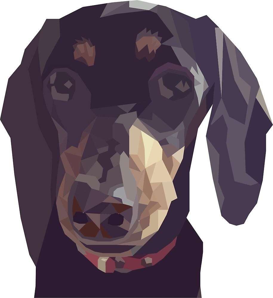 Geometric Sausage Dog Digitally Created by darkestraven