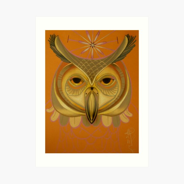 orange owl totem Art Print