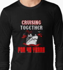 Top T-shirt For 40th Wedding Anniversary, Fashion Anniversary Gifts For Couple Long Sleeve T-Shirt