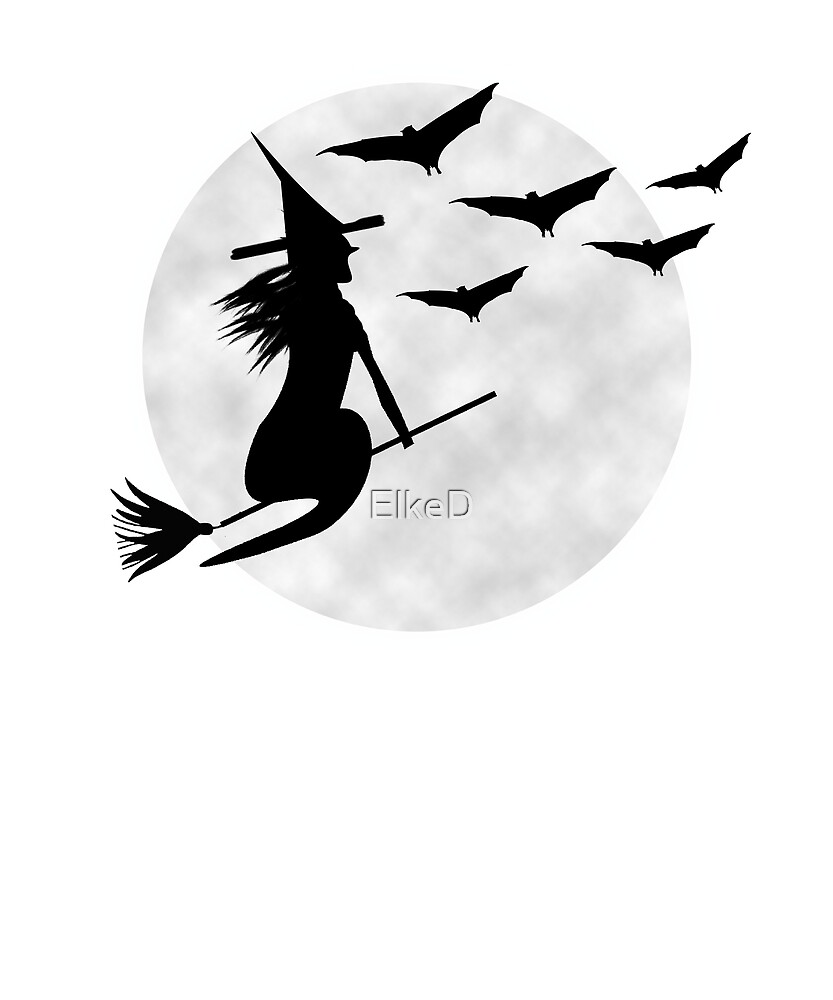 Witch on a Broom and Bats Full Moon by ElkeD