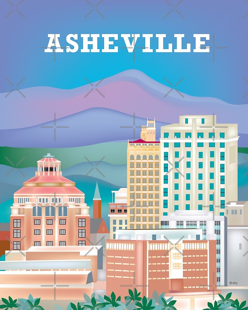 Asheville, North Carolina - Skyline Illustration by Loose Petals by LoosePetals