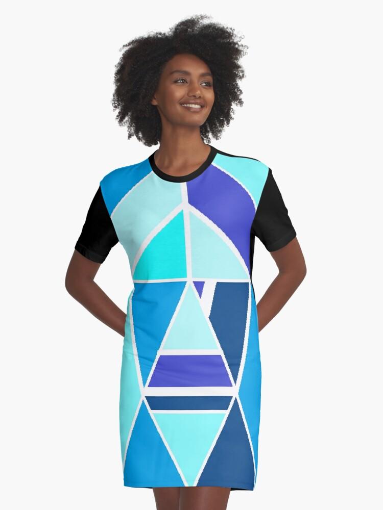 Blue chrome Graphic T-Shirt Dress Front