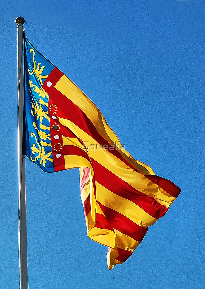 Flag of the Comunitat Valenciana, Spain by Squealia