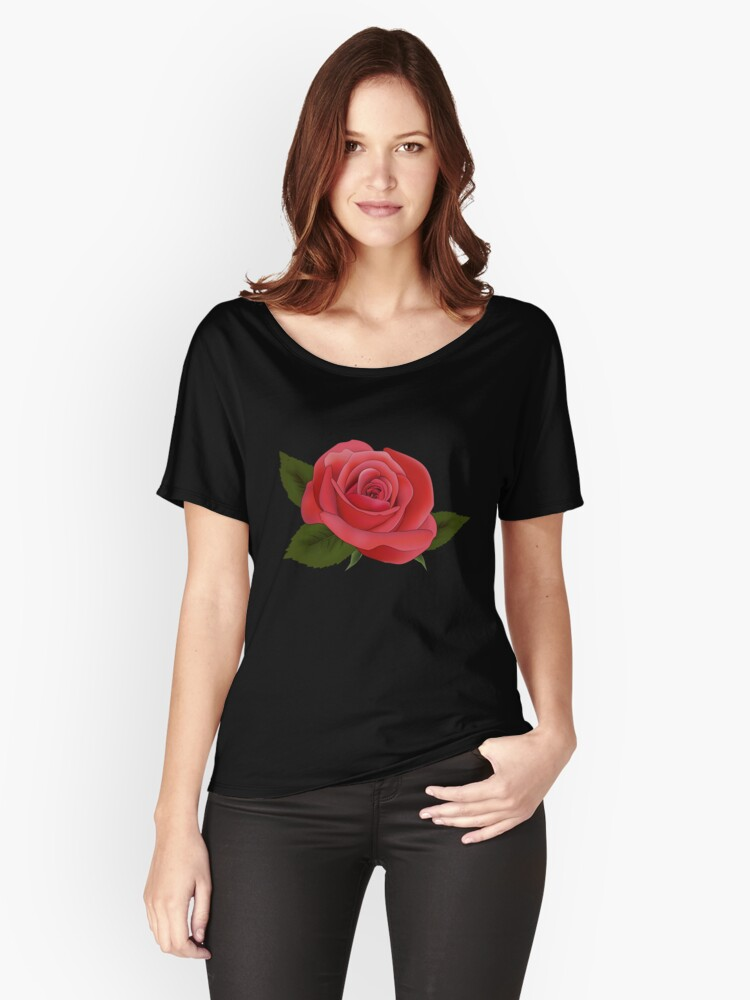 2017 TREND| SINGLE RED ROSE ON BLACK Women's Relaxed Fit T-Shirt Front