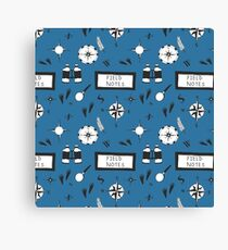 Field Notes & Compass Blue Canvas Print