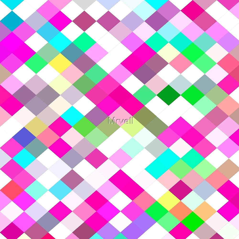 geometric square pixel pattern abstract in pink green yellow blue by Mrvell