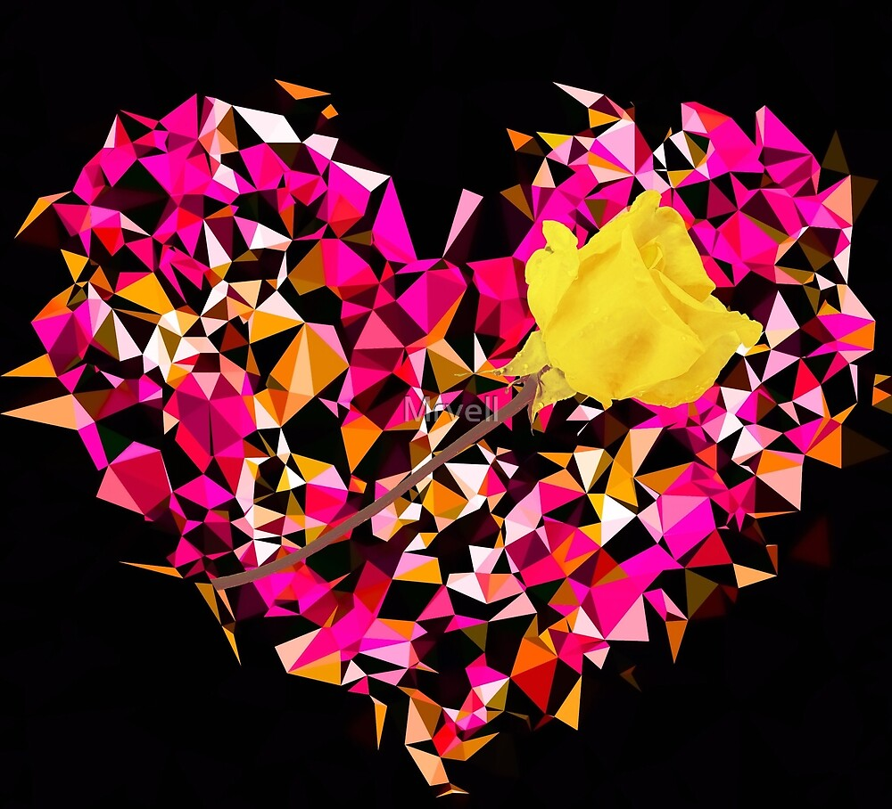 geometric polygon heart shape pattern abstract in pink orange with yellow rose by Mrvell
