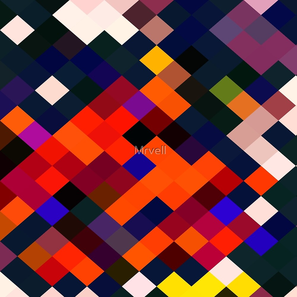 geometric square pixel pattern abstract in orange brown blue yellow  by Mrvell