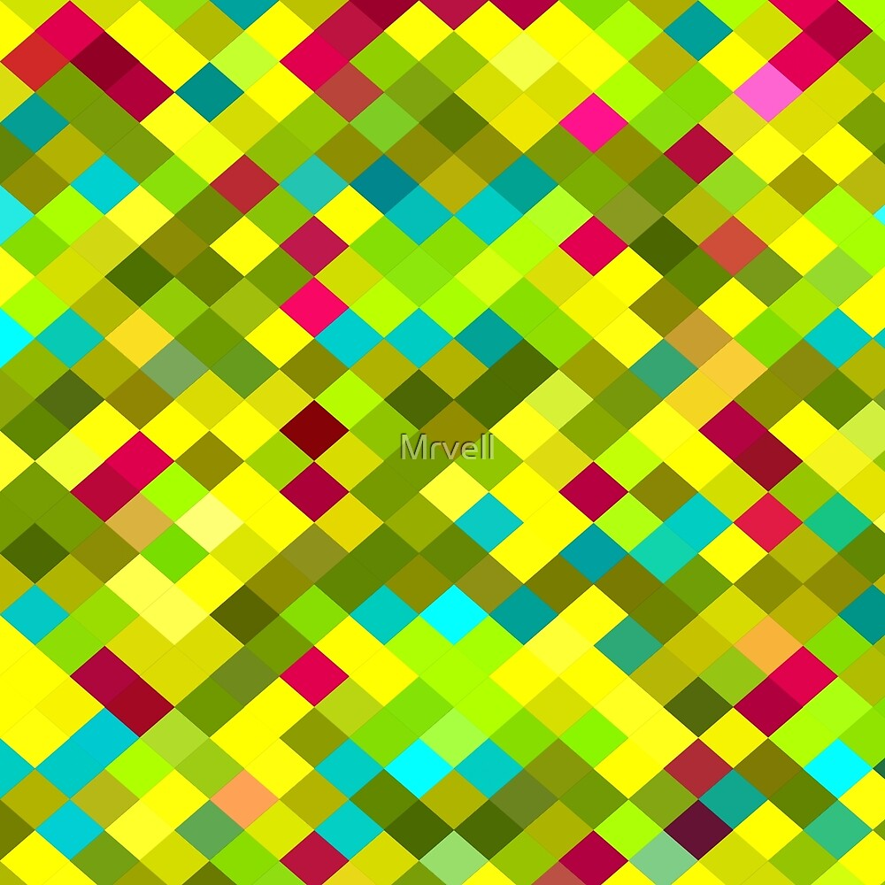geometric square pixel pattern abstract in yellow red green blue by Mrvell