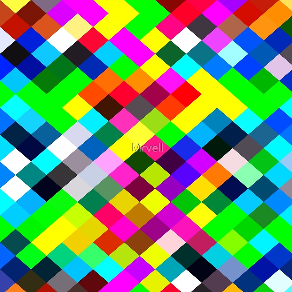geometric square pixel pattern abstract in blue yellow pink green red by Mrvell