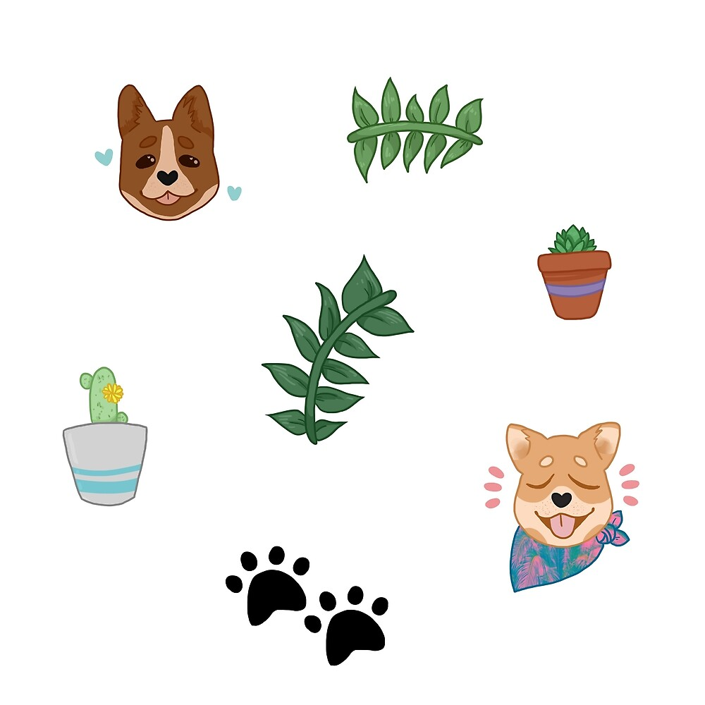 dogs n plants sticker pack by cryptidbun