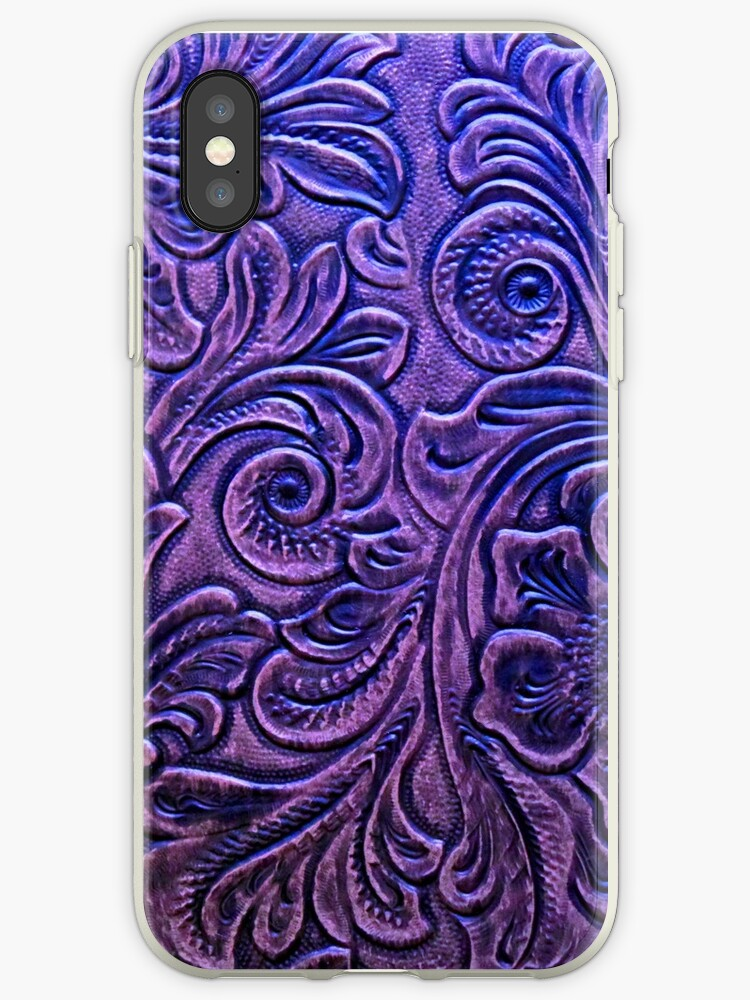 Amethyst Embossed Tooled Leather Floral Scrollwork Design by RandP Walriven