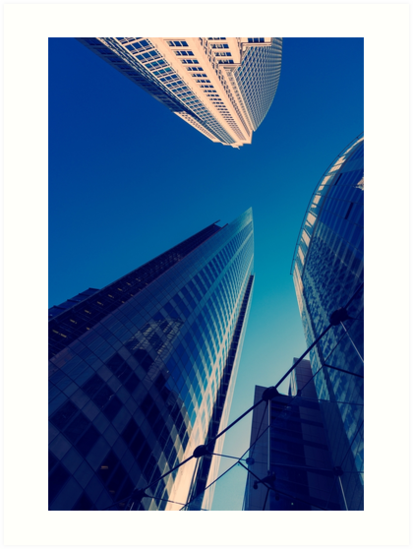 Skyscarapers reflections clear blue sky. by DavidMay
