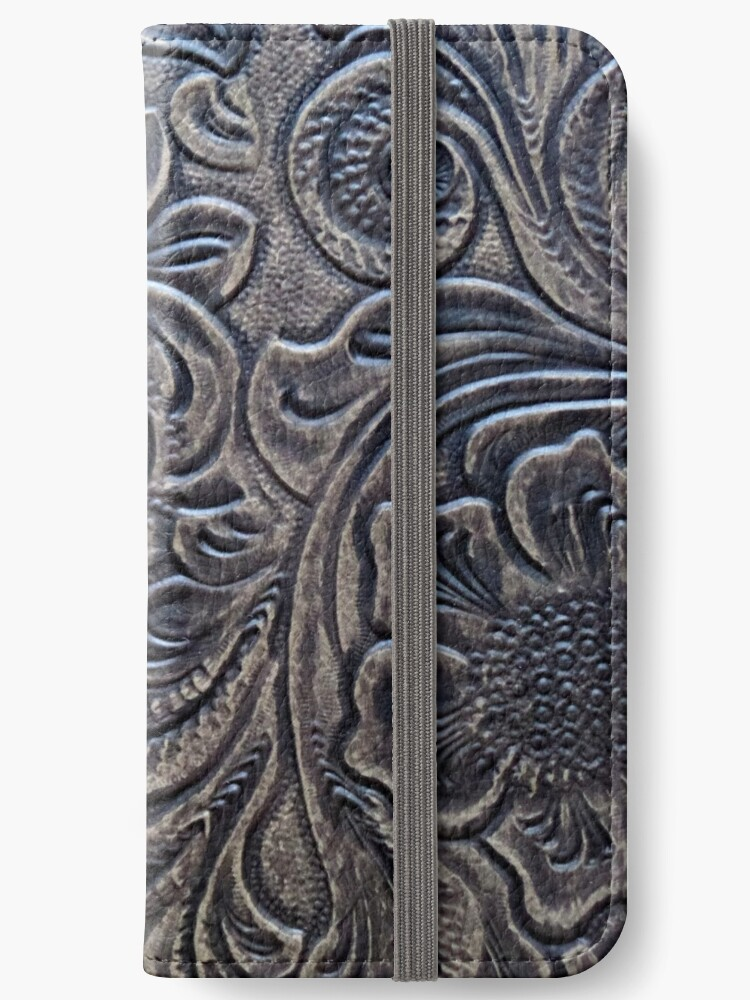 Brown Embossed Tooled Leather Floral Scrollwork Design by RandP Walriven