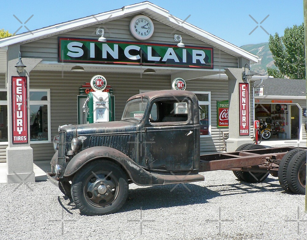 Vintage Truck at Vintage Sinclair Station by Martha Sherman