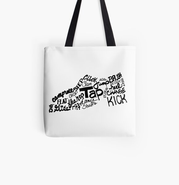 Tap Dance Shoe Filled with Tap Terms All Over Print Tote Bag