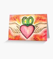 Irish Valentine Wedding Anniversary, Claddagh oil pastel card With Love Forever Greeting Card