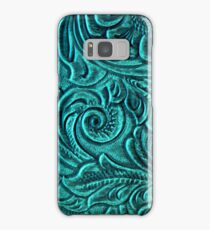 Turquoise Embossed Tooled Leather Floral Scrollwork Design Samsung Galaxy Case/Skin