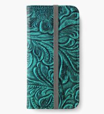 Turquoise Embossed Tooled Leather Floral Scrollwork Design iPhone Wallet/Case/Skin