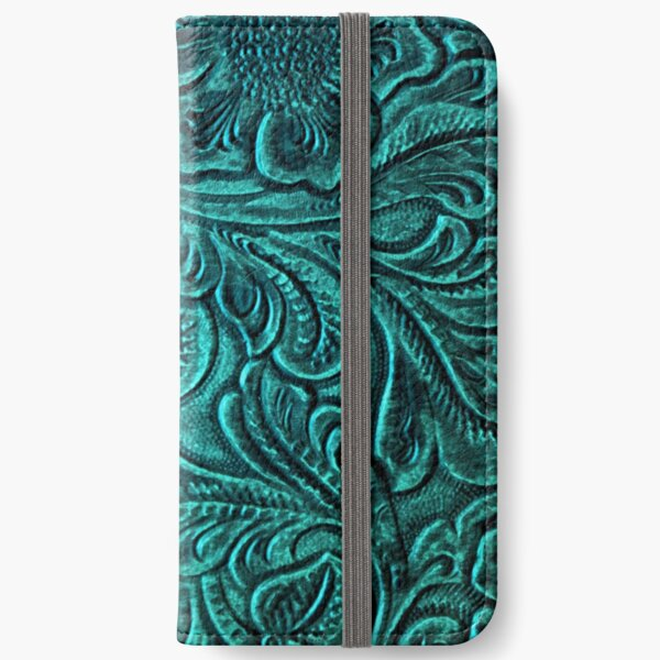Turquoise Embossed Tooled Leather Floral Scrollwork Design iPhone Wallet
