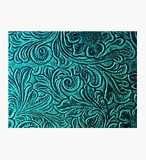 Turquoise Embossed Tooled Leather Floral Scrollwork Design Photographic Print