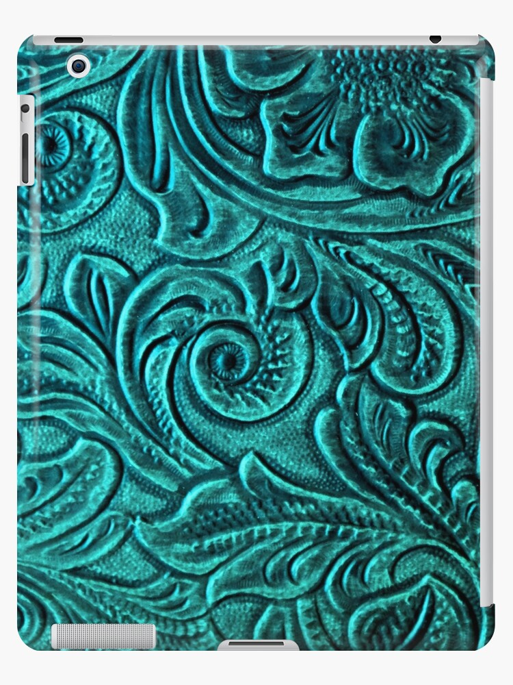 Turquoise Embossed Tooled Leather Floral Scrollwork Design by RandP Walriven