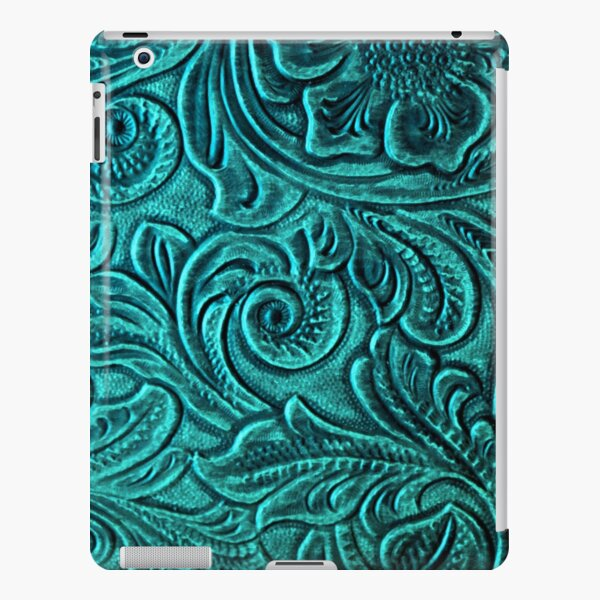 Turquoise Embossed Tooled Leather Floral Scrollwork Design iPad Snap Case