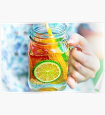 Fruit lemonade in jar Poster