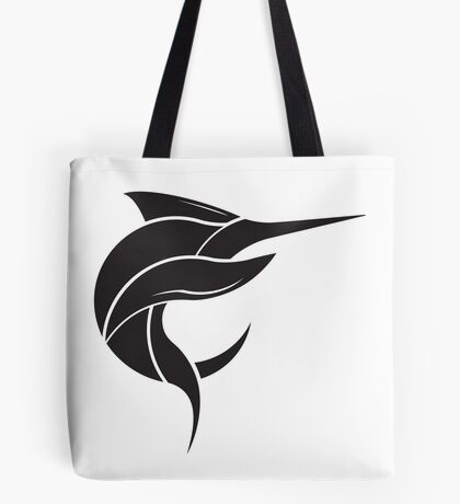 Black Marlin Blog Logo - Black on White Tote Bag